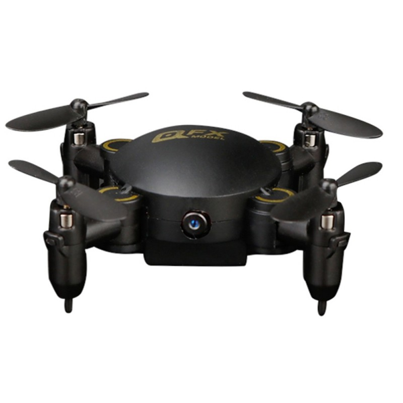 QFX Mini Drone Foldable Quadcopter Model Toy with Remote Control - Black - 5417358512