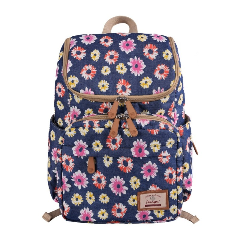 Douguyan Floral Print Diaper Backpack Large Capacity Nappy Bags Multi-functional - Silk Blue - 3W04868712