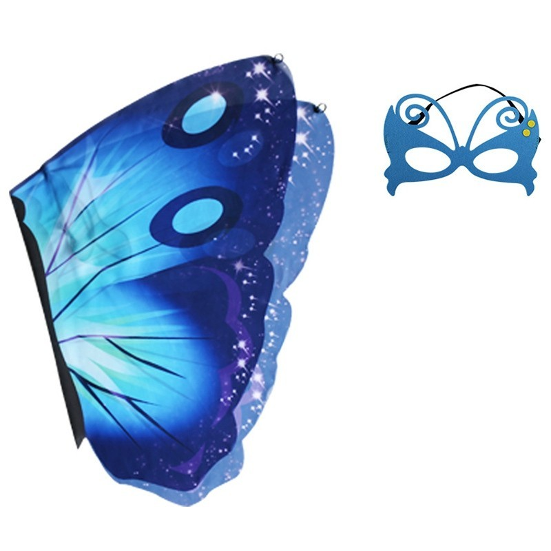 Children's Butterfly Wings Summer Outdoor Games Classic Toy Set - Blue - 5754990312