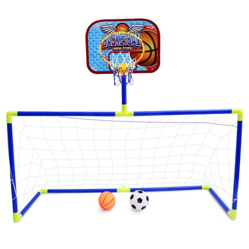 Anjanle Kids Portable 2-in-1 Football Basketball Set Indoor Outdoor Sport Toy Developmental Game - Colormix - 2N08547612