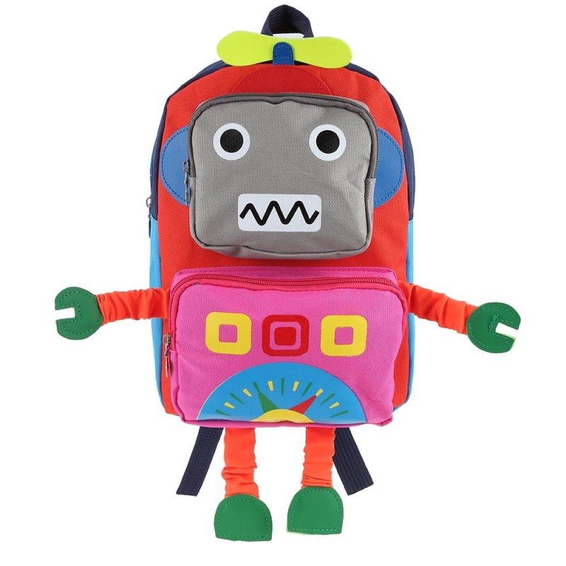 Cartoon Robot Shape Backpack School Bag for Children - Red - 3C71262512