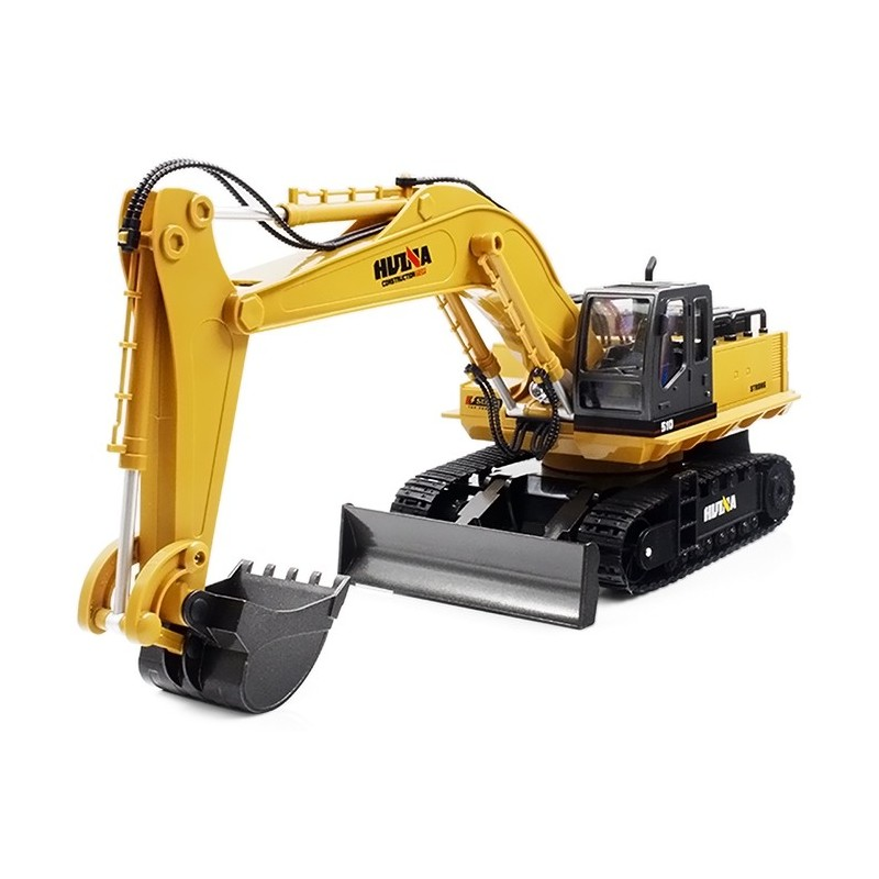 1510 1:16 2.4GHz 11CH RC Alloy Excavator RTR Mechanical Sound / 680-degree Rotation / Movable Stick Boom Bucket - Yellow