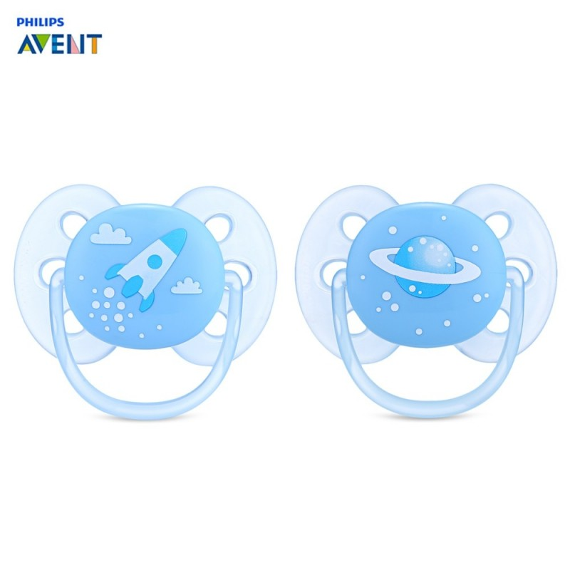 Philips Avent 2pcs Silicone Baby Soother Infant Nipple Pacifier - Light Blue - 3157702112