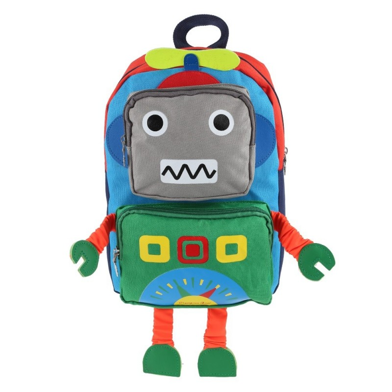 Cartoon Robot Shape Backpack School Bag for Children - Royal Blue - 3771262514