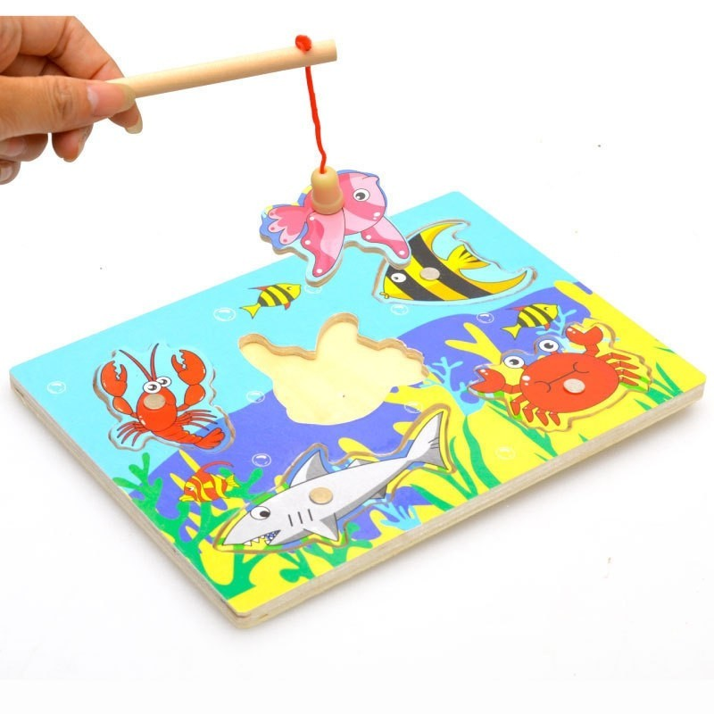 New Wooden Magnetic 3D Jigsaw Children Educational Fishing Puzzles Baby - Multi - 3H77218512