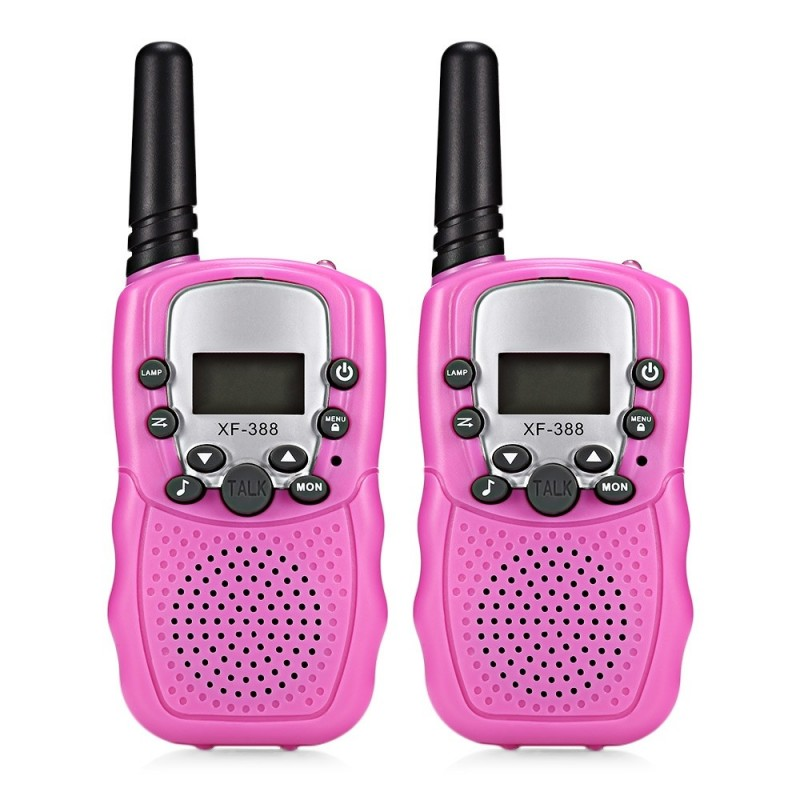 2pcs XF - 388 Children Walkie Talkies 2-way Radio 3KM Range 22 Channels - Pink Rose - 3B88793113