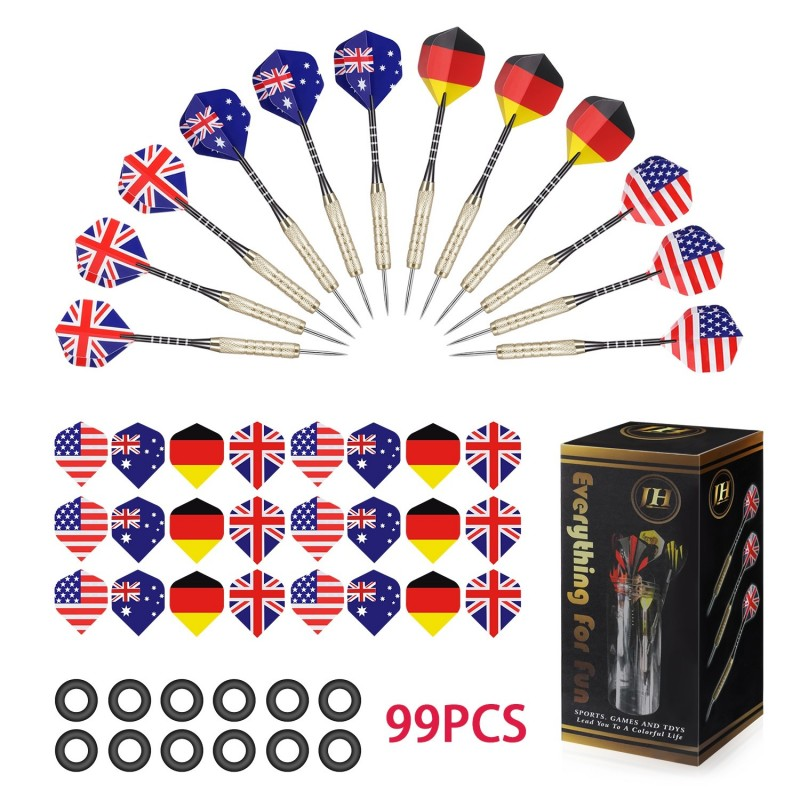 COOKJOY 12PCS Darts with 36 National Flag Flights 50 Rubber Rings 1 Plastic Box - Multi - 3292216312