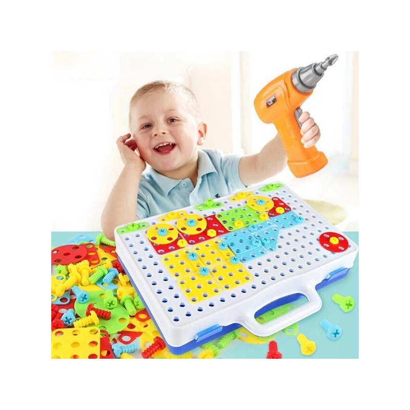 Educational Assembled Building Blocks Electric Drill Toy for Kids - Multi-A - 4C13839812
