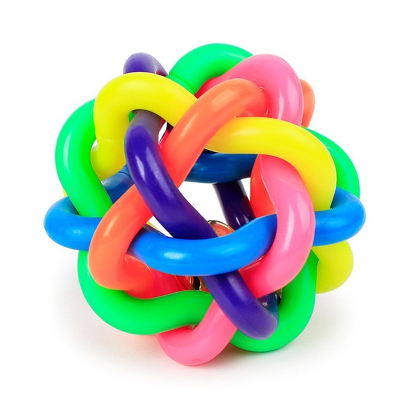 Colorful Belts Woven Rubber Ball Dog Toy - Multi-A - 3C95452612