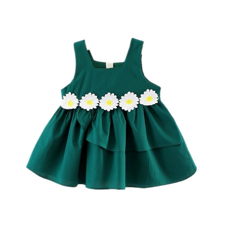Baby Girl's Dress Flowers Sleeveless Baby Clothes - Green - 3669959517
