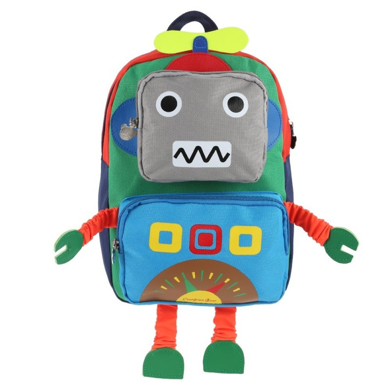 Cartoon Robot Shape Backpack School Bag for Children - Green - 3V71262513