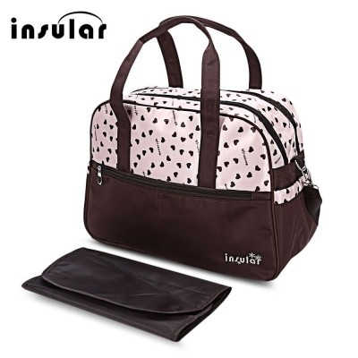 Insular Waterproof Multifunctional Heart Printed Baby Diaper Bag Mummy Handbag - Pink - 2G80087112