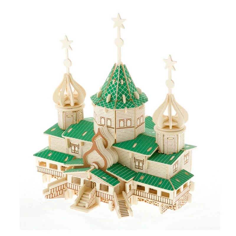 Wooden Puzzles Christmas House Model Assembling Building Kits - Clover Green - 3084287912