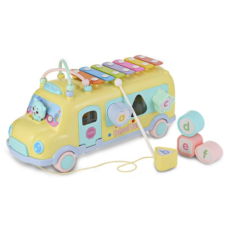 1022 - 9 Baby School Bus Toy Music Car with Percussion Piano Matching Blocks - Corn Yellow - 3P94382012