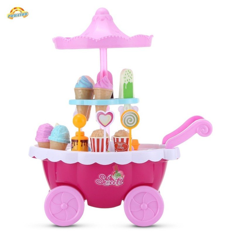 RANXIAN 1800 - 22 Household Playset Candy Ice Cream Cart - Pink - 3079054113