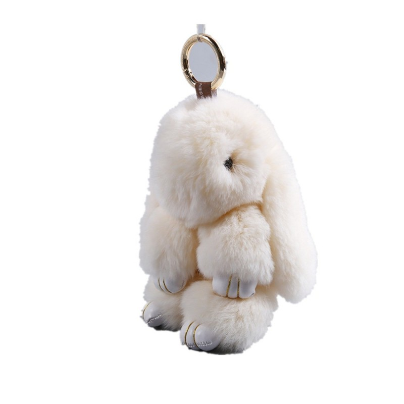 Plush Bunny Backpack Key Pendant - White - 3656385119