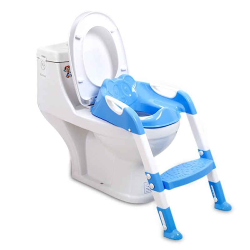 Folding Baby Potty Training Chair with Adjustable Ladder - Blue - 3U47979313
