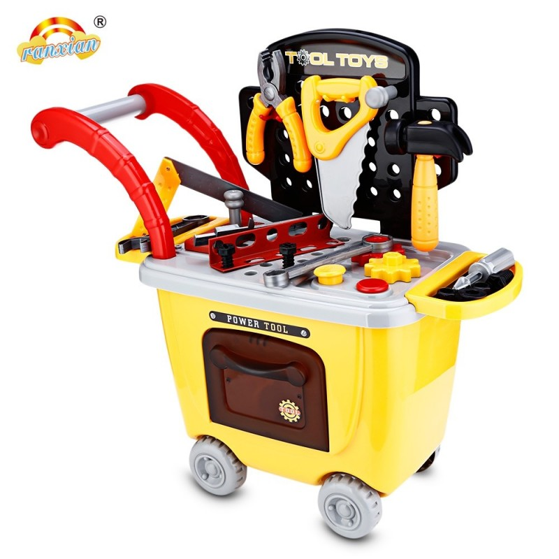 Ranxian RX1900-9 27pcs Kids Repair Tools Trolley Toys - Yellow - 3554111712