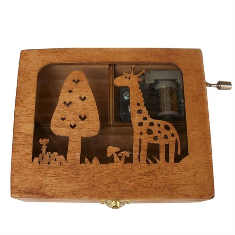Wooden Animal Pattern Hand Cranked Jewelry Music Box - Wood - 3M81223912