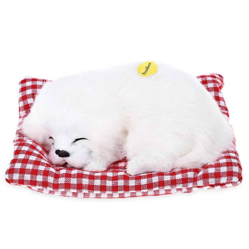 Simulation Sleeping Dog Craft Toy with Sound - White - 3N37998313