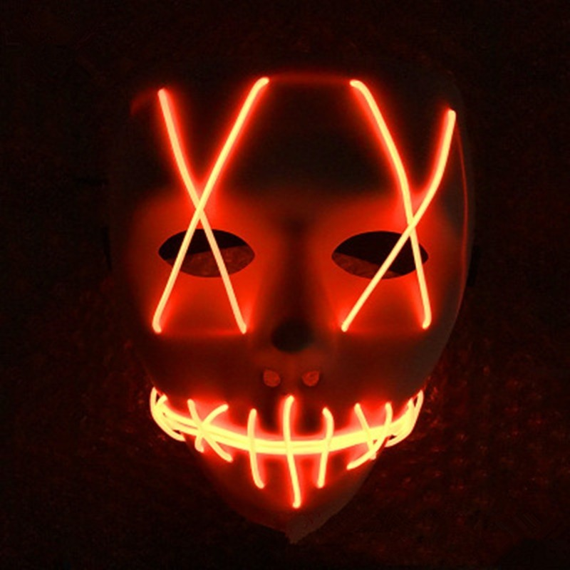 LED Light Up Funny From Purge Election Great Halloween Mask - Pumpkin Orange - 3U09988013
