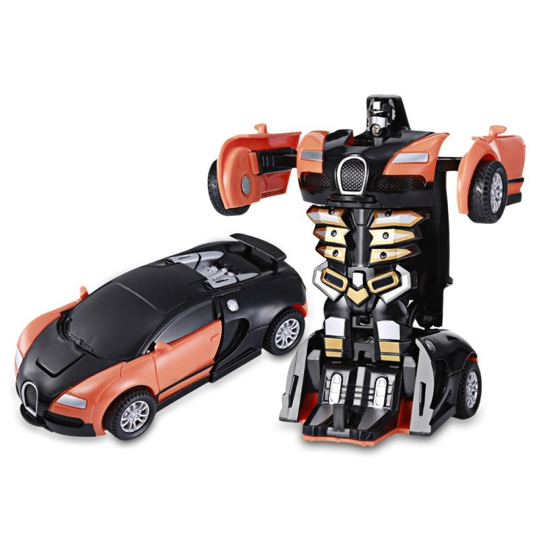 One Step Impact Deformation Car Mini Transformation Robot Toy - Orange - 3386879415