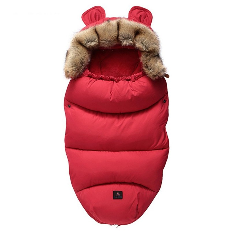 FYSD - 18 - 1129 Thicken Warm Baby Anti Kicking Sleeping Bag ( with Fur Collar ) - Red - 5S46480112