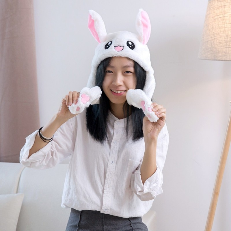 Cute Funny Rabbit Hat with Moving Ears - Milk White - 3U83782412