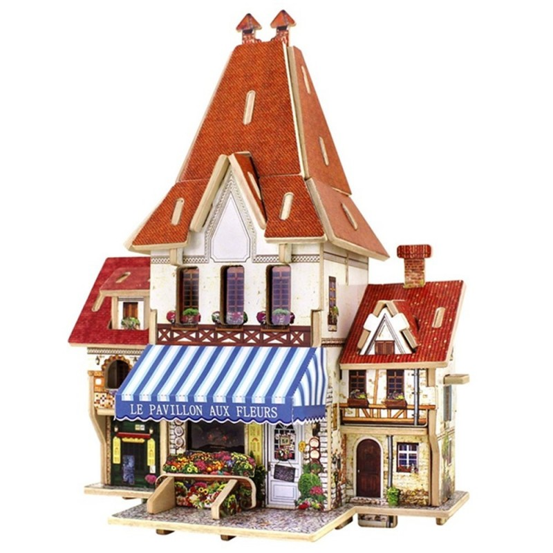 Creative 3D Wood Puzzle DIY Model French Style Flower Shop Building Puzzle Toy - Multi - 3Y73858012