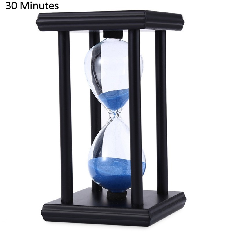 Hourglass Sand Timer 30 Minutes Wood Sand Timer for Kitchen Office School Decorative Use - Black Blue - 2478126614