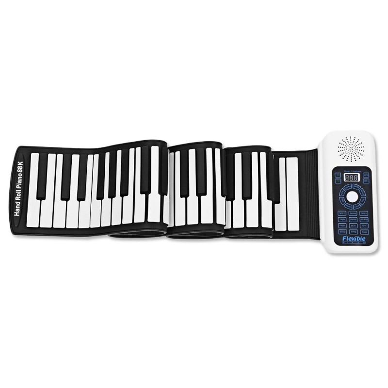 88 Keys Hand Roll Up Piano with MIDI Electronic Keyboard - Black White - 3B50669412