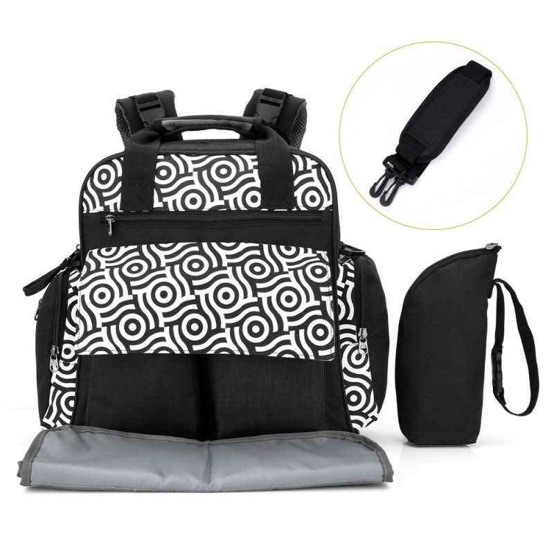 010 Diaper Bag Multifunction Backpack Separate Pockets - Black - 3U73676013