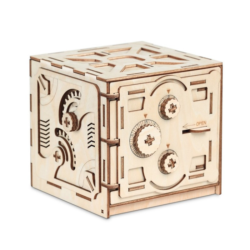 Wooden Mechanical Model 3D Puzzle Password Locker - Wood - 3D68406712