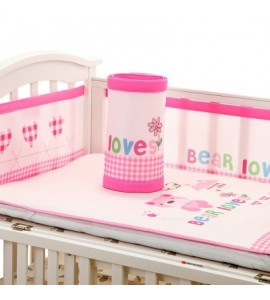 Baby Bed Crib Bumper Breathable Infant Bedding Set - Pink - 3461236913