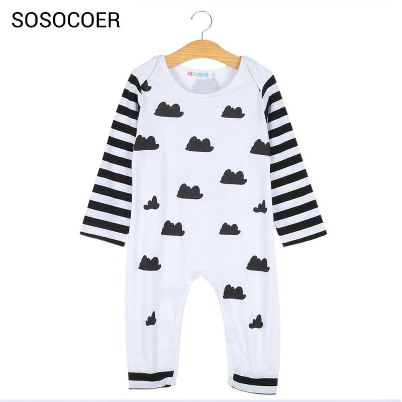 SOSOCOER Baby Long Sleeve Infant Clothing Newborn Romper - White - 3139744414