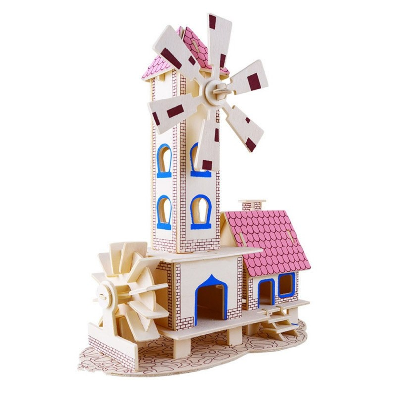 3D Wooden Puzzles Children House Model Assembling Building Kits - Yellow - 3583812012