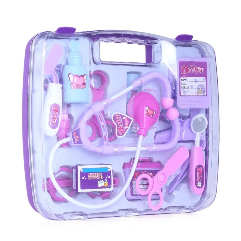 14pcs Kids Family Pretend Doctor Nurse Medical Box Playset Play Learning Toy - Purple - 2300303212