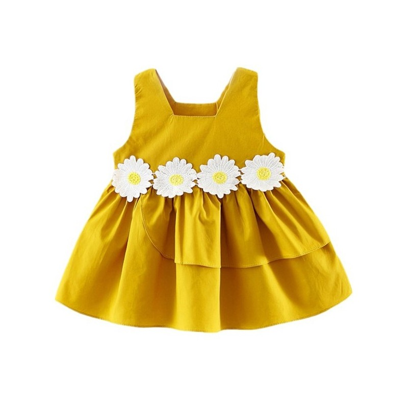 Baby Girl's Dress Flowers Sleeveless Baby Clothes - Yellow - 3K69959512