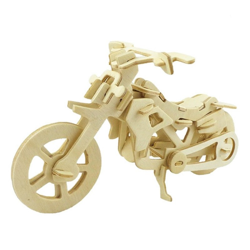 DIY 3D Wooden Puzzle Cool Motor Bike for Kids Gift - Peach - 3R82012512