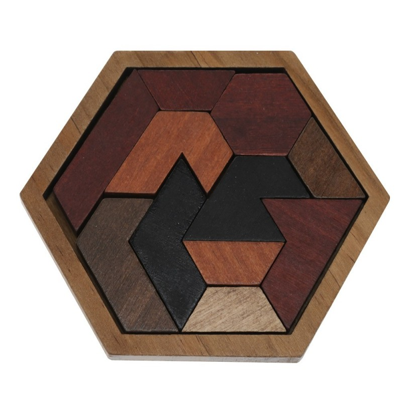 Wooden Hexagon Jigsaw Puzzle Board Educational Toy - Brown - 3446436012