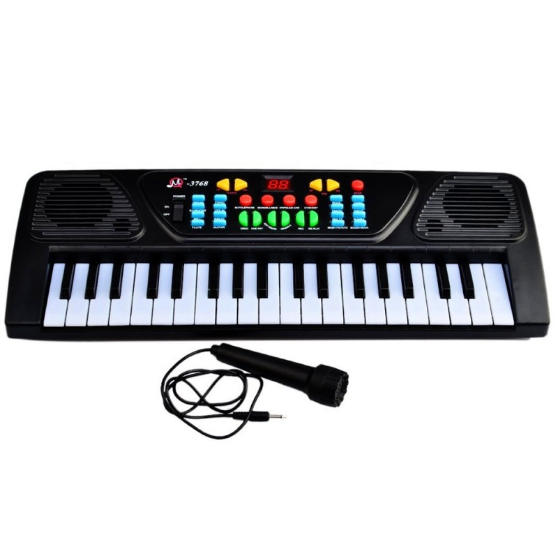 Electronic Organ Musical Keyboard Toy 37 Key Kids Piano with Microphone - Black - 3S81635012