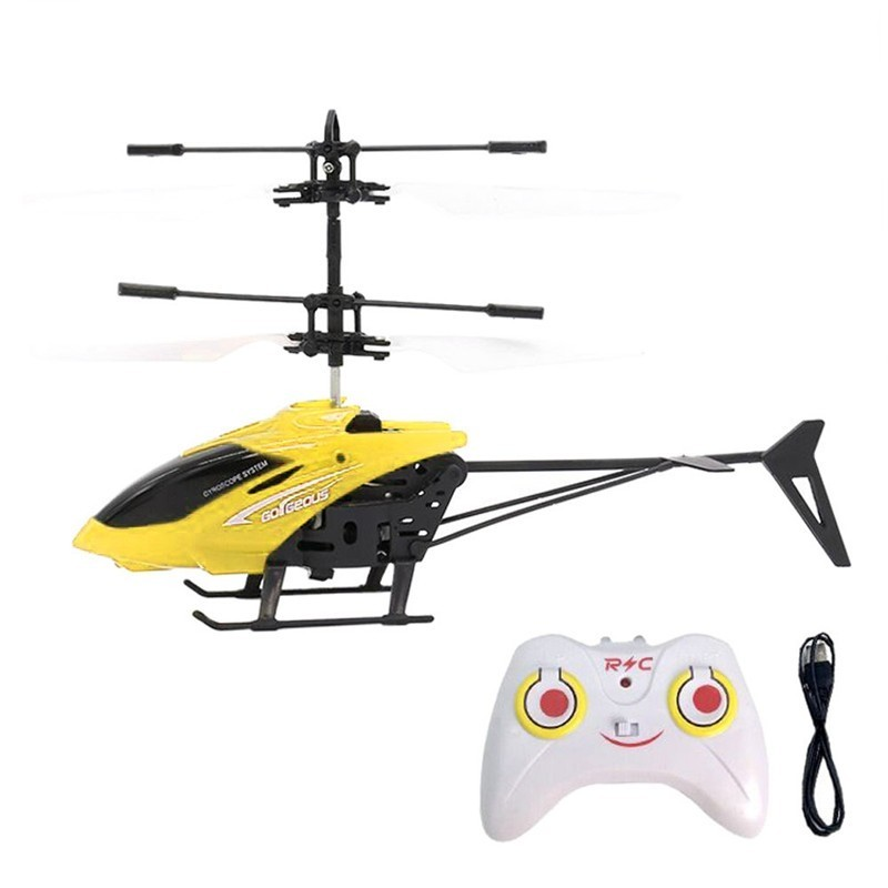 Flashing Light Induction Helicopter Toy for Kids - Yellow - 3A48562214