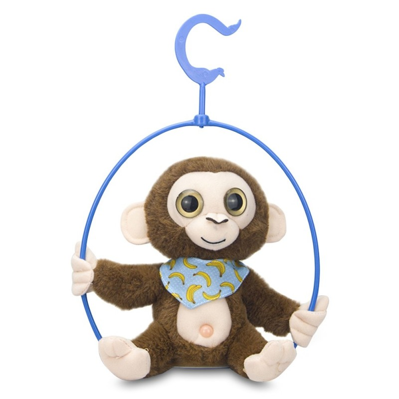 Stuffed Plush Toy Electric Monkey Talk Repeat Body Shake Doll with Shelf - Coffee - 5G57411514