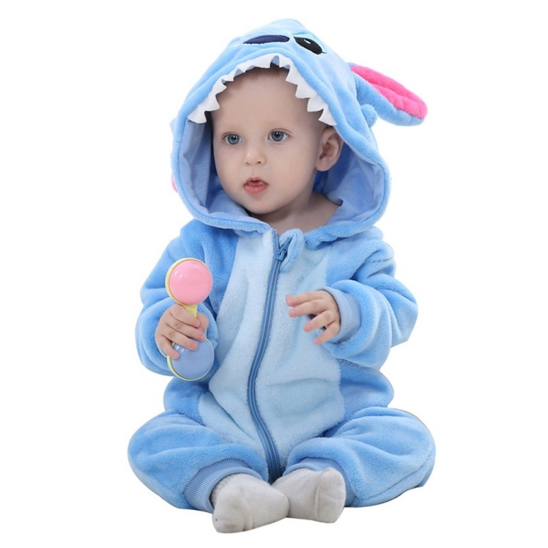 Baby Long Sleeve Cartoon Animal Modeling Warm Romper - Crystal Blue - 4707467712
