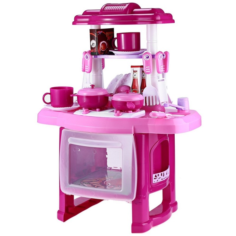 Kids Simulation Kitchen Cookware Pretend Role Play Toy with Music Light - Pink - 2R83268312