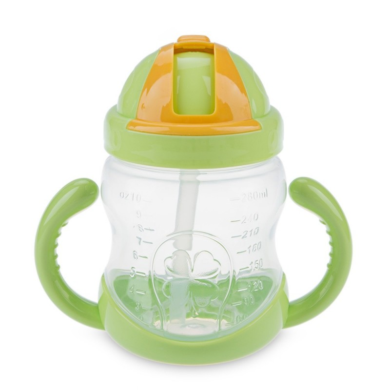 280ml Good Sealing Practical Children Straw Cup Water Bottle with Handles - Green - 2N94859813