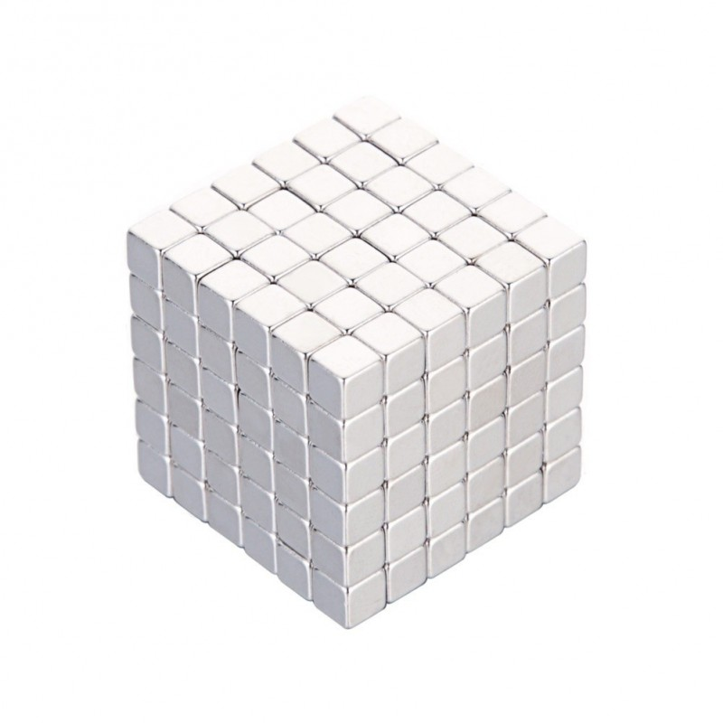 216 Pcs/4mm Neodymium Neocube Cube Fun Powerful Square Magnets ( Color: Silver) - Silver - 3T66619412
