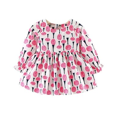 Baby Girl's Dress Ice Cream Pattern Long Sleeve Princess Dress - Rose Red - 3K69958612