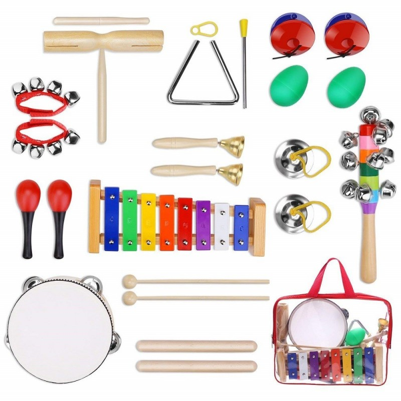 Kids Musical Instruments Tamborines Drum Set 12Pcs Xylophone Percussion Toy - Multi-A - 4E88356212