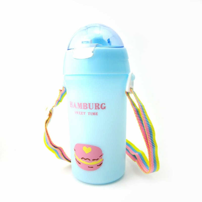 Baby Water Bottle With Straw Colorful Rope Cute Candy Pattern Kid Training Cup B - Blue - 4G87985812
